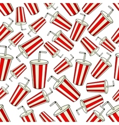 Seamless striped cups of soda pattern background vector