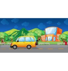 A yellow van at the road vector image