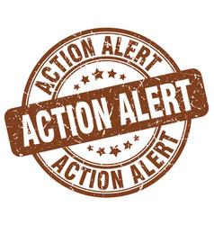 Action alert brown grunge stamp vector