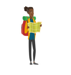 African traveler with backpack looking at map vector