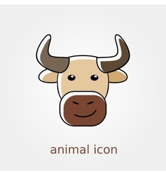 Bull icon farm animal vector