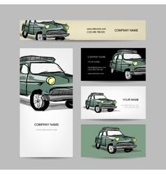 Business cards design retro car vector
