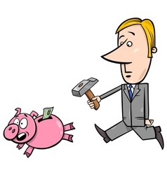 Businessman chase piggy bank vector