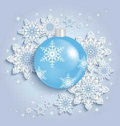 Christmas ball with snowflakes vector