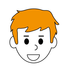 Color contour cartoon front view man with blond vector