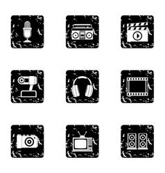 Communication device icons set grunge style vector image