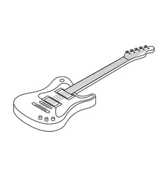 Electric guitar icon in outline style isolated on vector