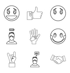 emotional icons set outline style vector image vector image