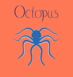Flat on background octopus vector