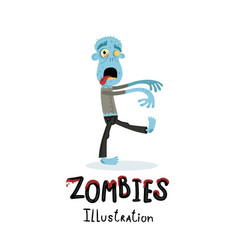 funny blue zombie character in cartoon style vector image