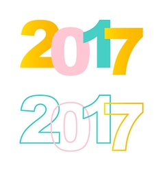 Happy new year 2017 colorful flat design elements vector