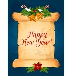 Happy New Year wishes with scroll vector image