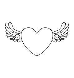 heart and wings tattoo isolated icon design vector image