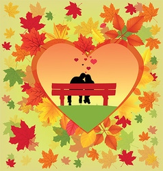 Heart made from autumn leaves vector