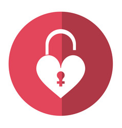Heart padlock female sign shadow vector