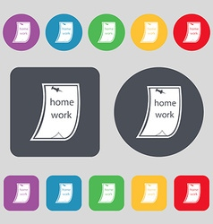 Homework icon sign a set of 12 colored buttons vector
