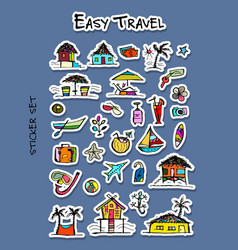 hotel and travel icons sticker set for your vector image