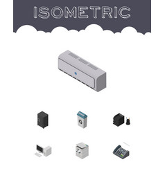 Isometric work set of computer wall cooler vector