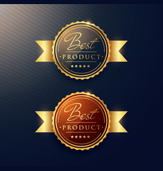 Luxury golden label set of two badges vector