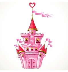 Magical fairytale pink castle with flags vector