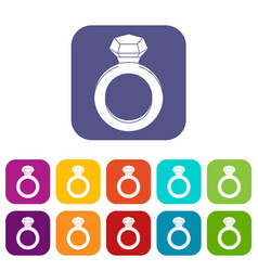 Ring with gemstone icons set flat vector
