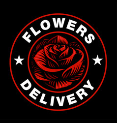 Rose logo on dark background vector