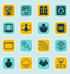 Set of 16 online connection icons includes blog vector