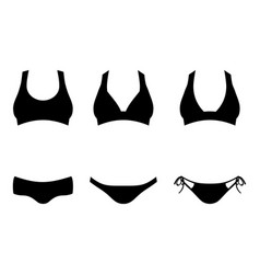 set of bikini or lingerie silhouettes isolated on vector image