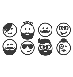 Set of outline hipster emoticons emoji vector image
