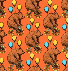 Sketch bear on a bike in vintage style vector image vector image