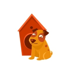 Smiling puppy next to wooden kennel vector
