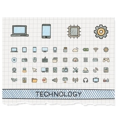Technology hand drawing line icons doodle vector image vector image