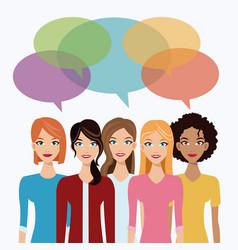 women team communication bubble speech vector image vector image