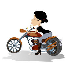 young biker babe isolated vector image