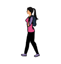 Young woman walking with backpack vector