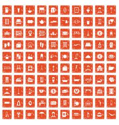 100 inn icons set grunge orange vector
