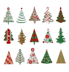 Christmas trees silhouettes vector