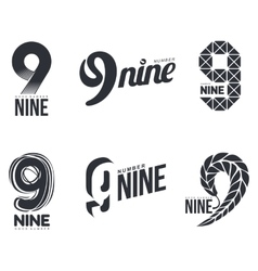 Set of black and white number nine logo templates vector