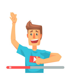 emotional video blogger man speaking colorful vector image