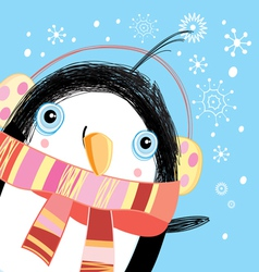 Christmas greeting card with a penguin vector image