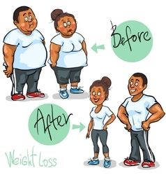 Man and woman achieving their weight-loss goal vector