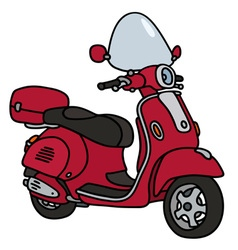 Retro red scooter vector