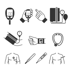 Set of medical measurement and tools vector