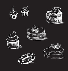 Cakes by sketch bakery sticker vector