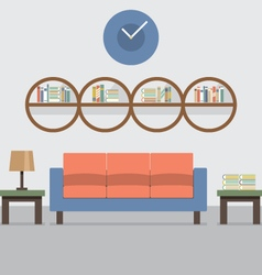 Sofa with modern bookcase vector