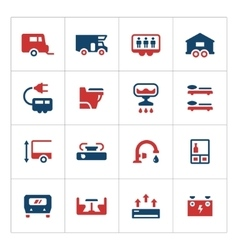 Set color icons of camper caravan trailer vector