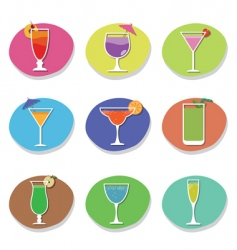 Cocktail icons vector