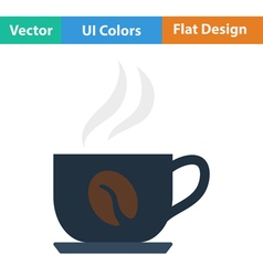 Flat design icon of coffee cup vector