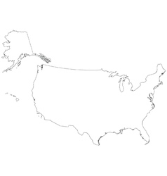 Outline map of the united states of america vector
