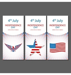 Banners of 4th July backgrounds with American flag vector image